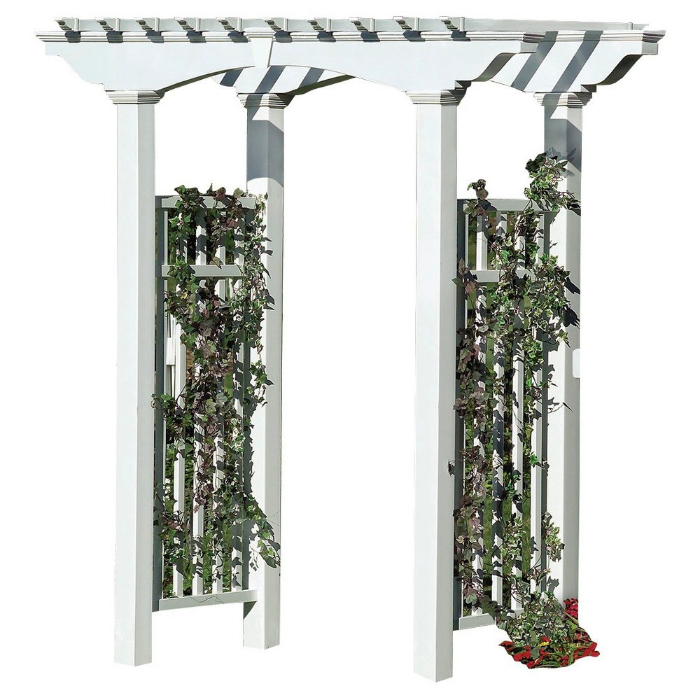 Image of Newport Arbor 33 Garden Decorative Structures - White - New England Arbors