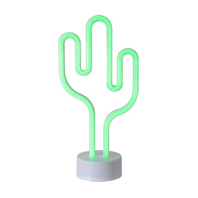 """Northlight 11.5"""" Battery Operated Neon Style LED Cactus Table Light - Green"""