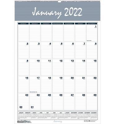 "House of Doolittle 2022 17"" x 12"" Wall Calendar Bar Harbor Blue/Gray/White 332-22"