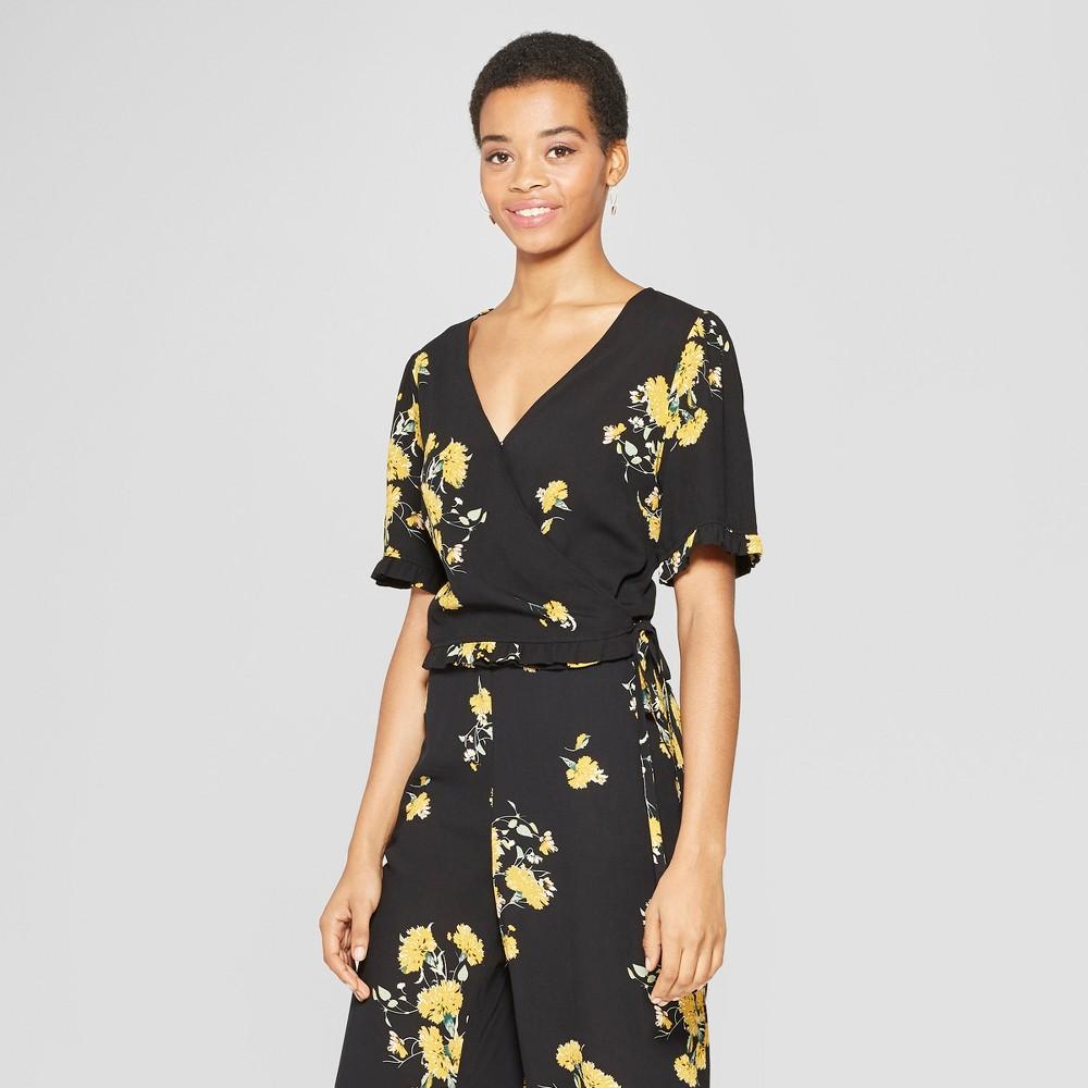 Women's Floral Print Short Sleeve Ruffle Trim Wrap Top - Xhilaration Black XS