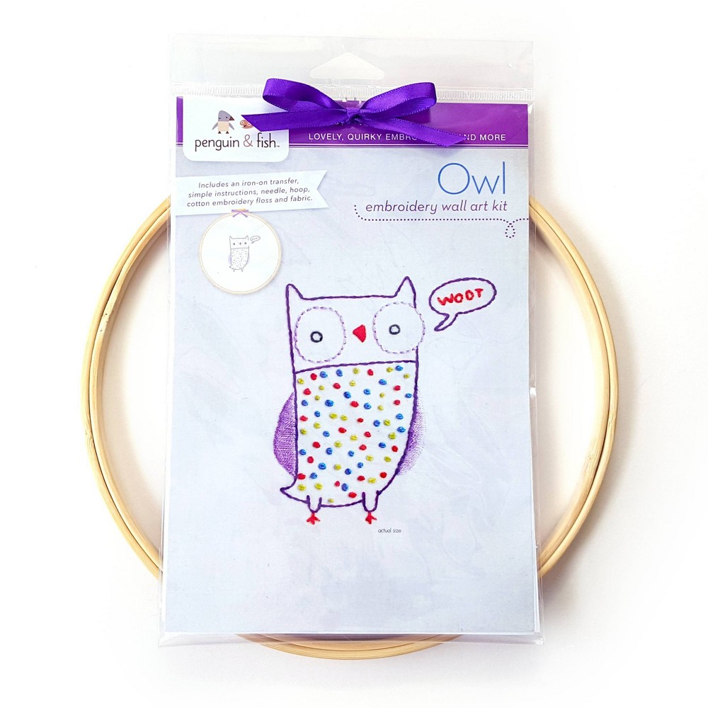 Image of Penguin & Fish Owl Embroidery Wall Art Kit