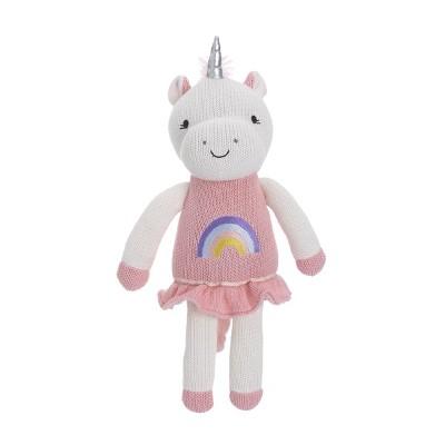 NoJo Cuddle Me Pink/White Unicorn Knitted Plush Toy - Mackenzie