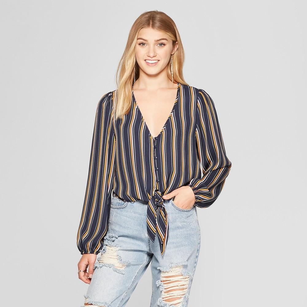 Women's Striped Long Sleeve Button Front Tie Front Crop Top - Xhilaration Navy Xxl, Blue
