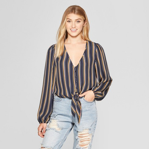 Women's Striped Long Sleeve Button Front Tie Front Crop Top - Xhilaration™ - image 1 of 2