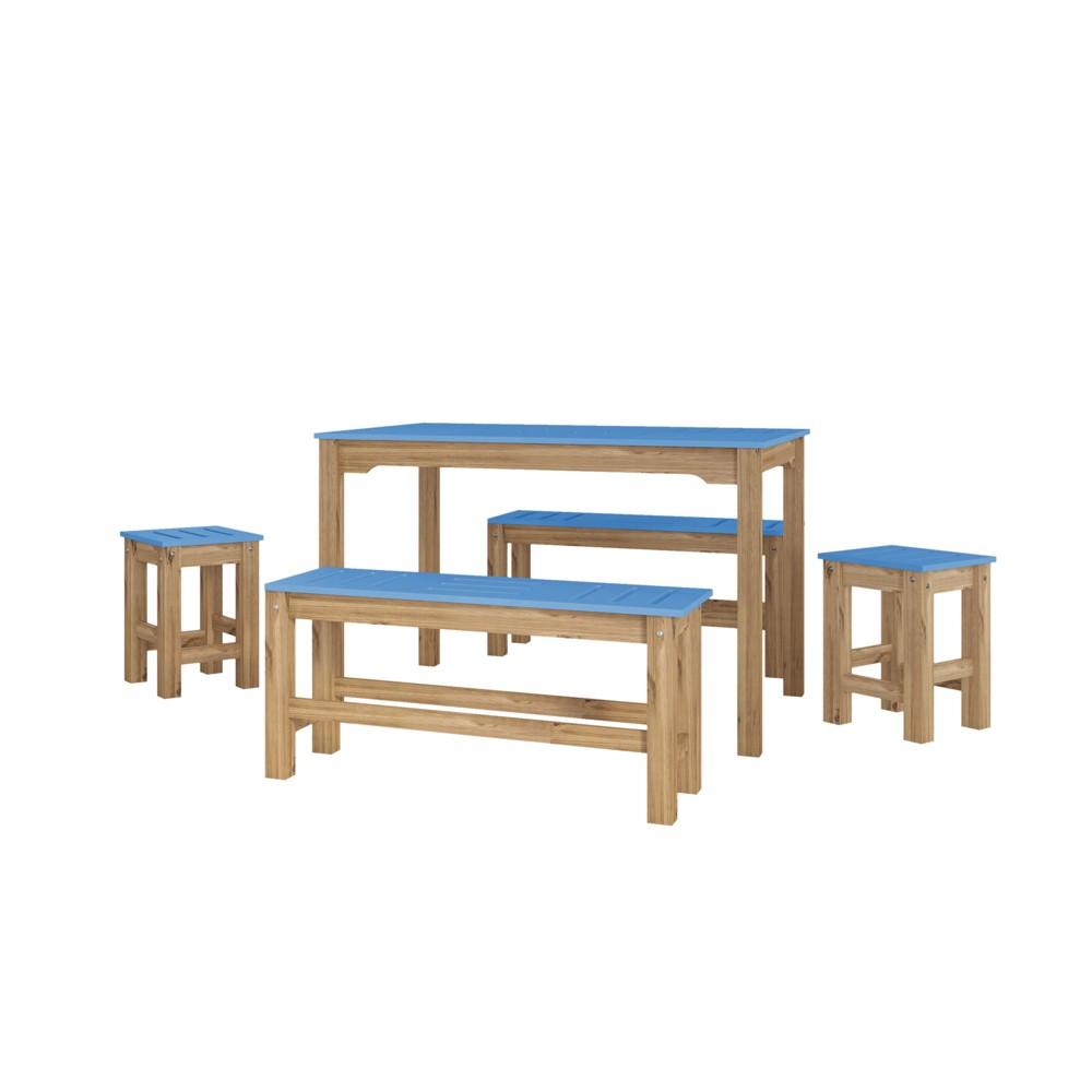 47.25 5pc Stillwell Natural Wood Rectangle Dining Set Blue - Manhattan Comfort