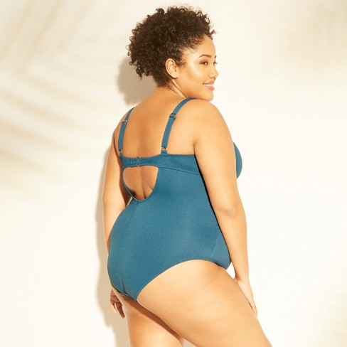 8dd8309a8514c Women s Plus Size Textured Tie Front One Piece Swimsuit - Kona Sol™   Target