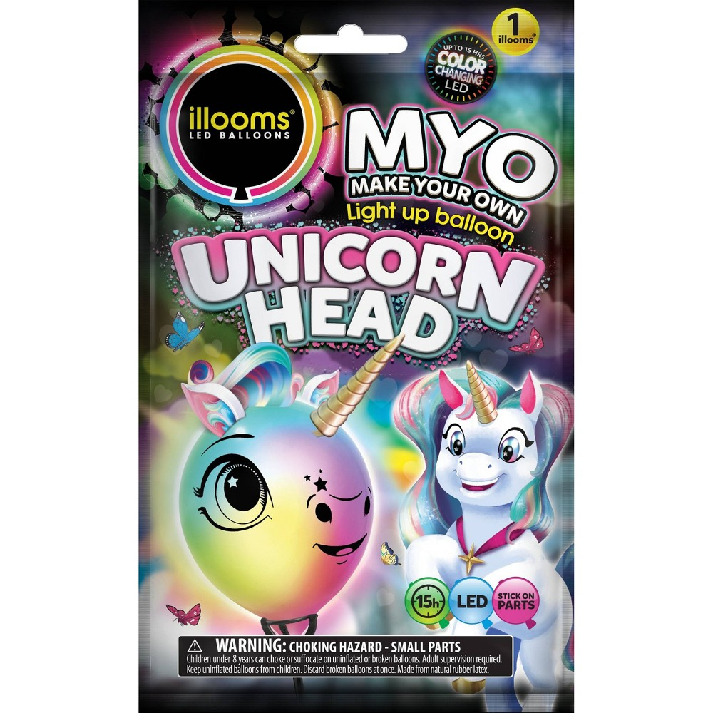 Image of Illooms Unicorn Head Light Up Balloon, Kids Unisex