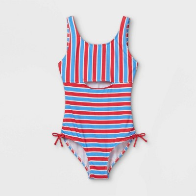 Girls' Striped One Piece Swimsuit - art class™ Red/Blue