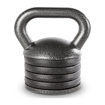 Apex Adjustable Cast Iron Kettlebell Full Body Strength Training Fitness Weight with 15 Pound Handle, 4 Removable Spacer Disks, and 5 Pound Bottom