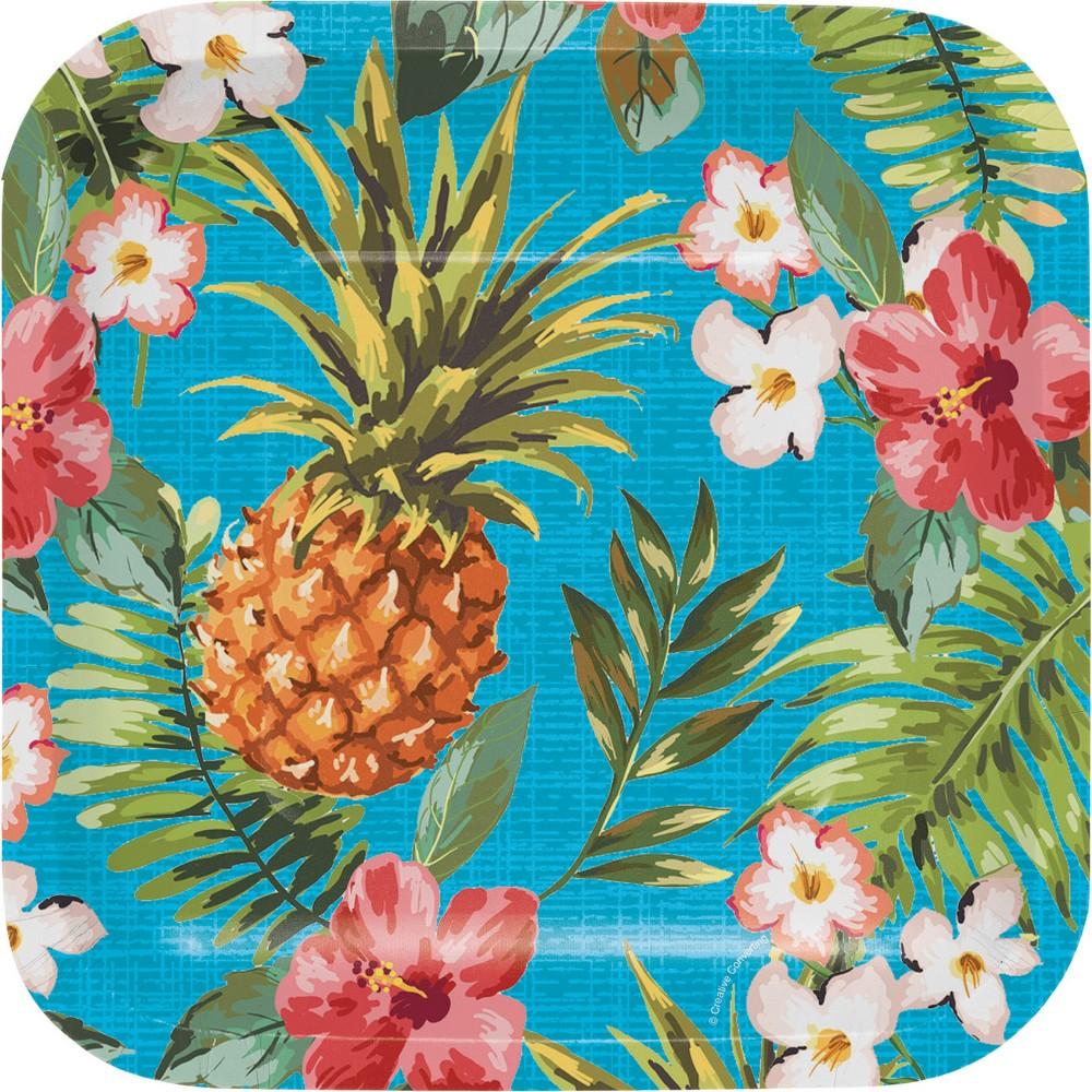 24ct Aloha Square Dessert Plates Blue
