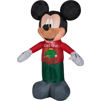 Gemmy Christmas Airblown Inflatable Mickey in Christmas Decor Hoodie Disney, 3.5 ft Tall, red
