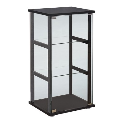 Coaster Home Furnishings 3 Shelf Freestanding Accent Curio Cabinet Display Shelf with Tempered Glass Shelves and Reversible Glass Door, Black