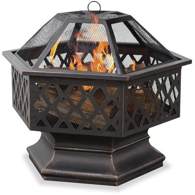 Oil Rubbed Bronze Outdoor Wood Burning Firebowl with Lattice Design - Endless Summer