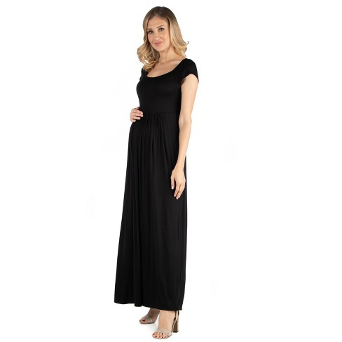 24seven Comfort Apparel Women's Maternity Maxi Dress - image 1 of 3