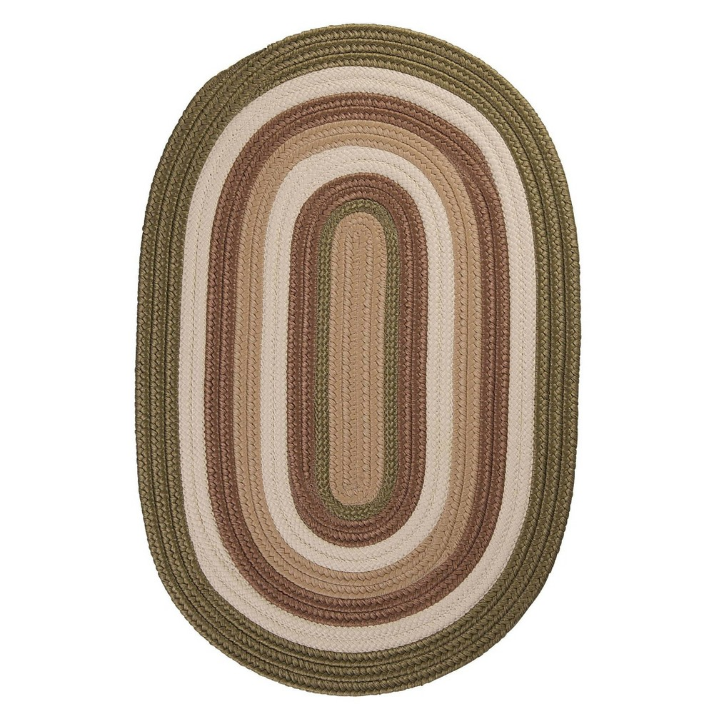 Oval Mountain Top Braided Area Rug Green