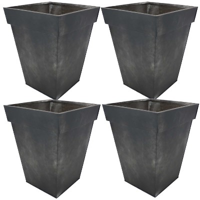 """Sunnydaze Modern Decorative Indoor/Outdoor Galvanized Steel Planters for Planting Flowers, Plants and Herbs - 13.75"""" Square - Charcoal - 4-Pack"""