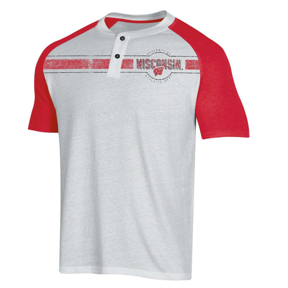 NCAA Men's Raglan Henley T-Shirt Wisconsin Badgers - XL, Multicolored