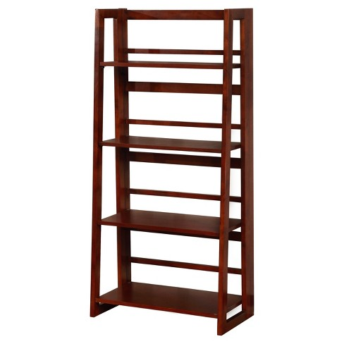 "48"" Dolce 4 Shelf Folding Bookcase Dark Walnut/Cherry - Linon - image 1 of 2"