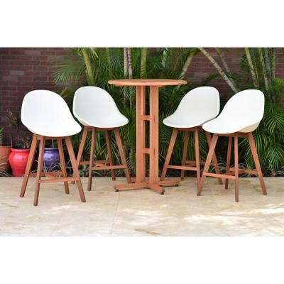 Metz 5pc Round Wood/Resin Patio Bar Set - White - Amazonia
