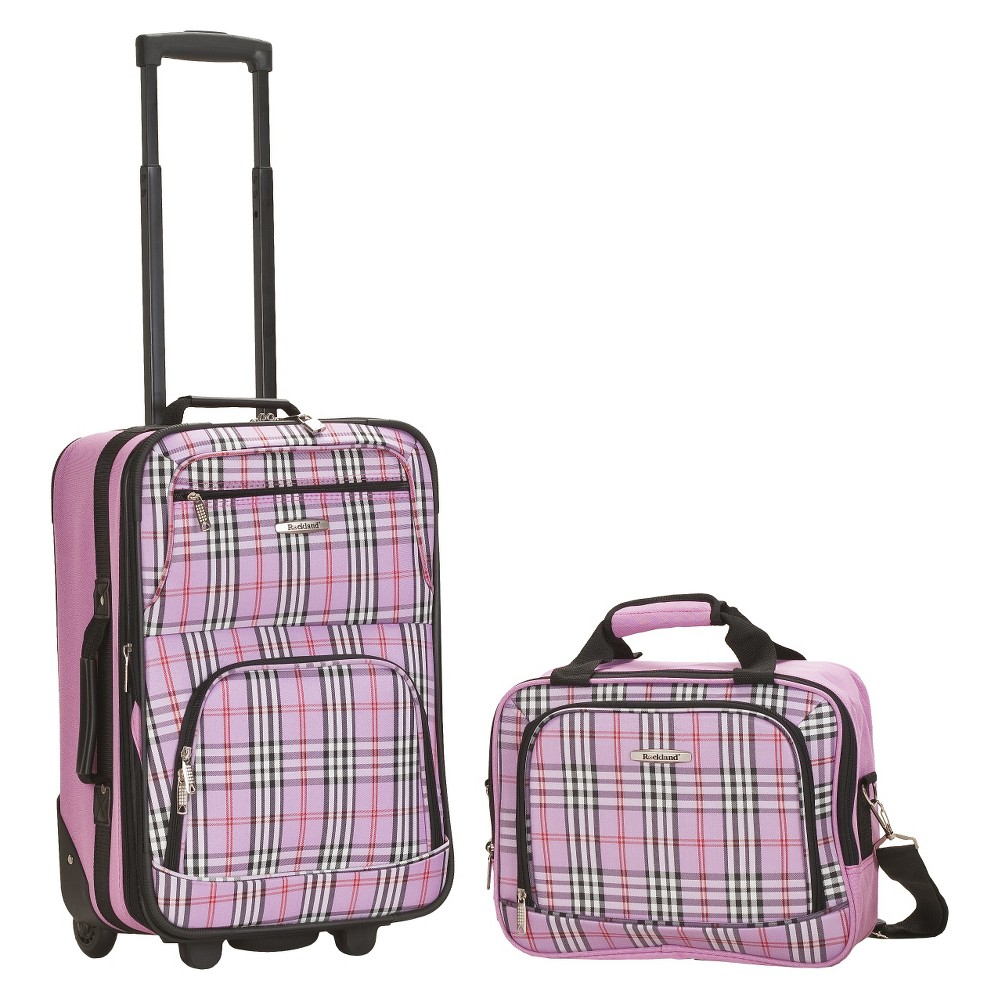 Rockland Rio 2pc Carry On Luggage Set Pink Cross