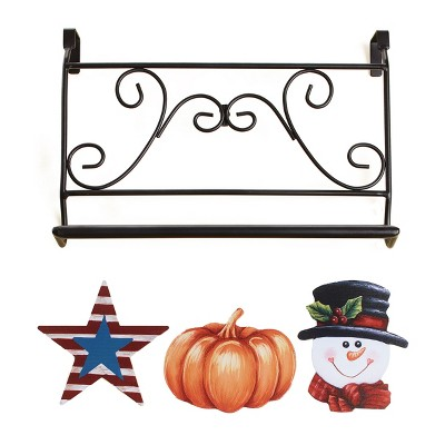 Lakeside Interchangeable Seasons Towel Bar with Seasons Icons - 4 Pieces