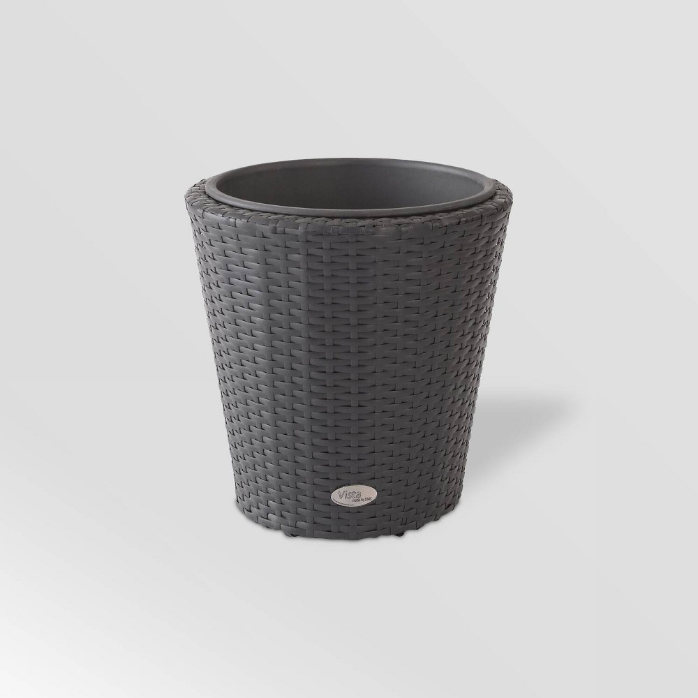 "Image of ""15"""" Resin Wicker Vista Planter Black - DMC Products"""