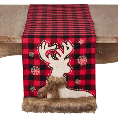 72 x13  Faux Fur Reindeer And Plaid Design Christmas Runner Red - Saro Lifestyle