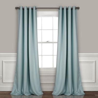 Insulated Grommet Blackout Curtain Panels Blue Pair Set 52 X84  - Lush Decor