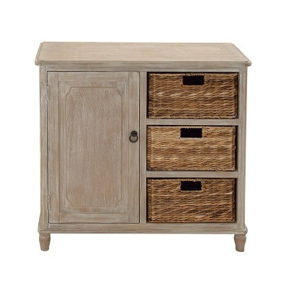 Traditional 3 Basket Wooden Cabinet Brown - Olivia & May