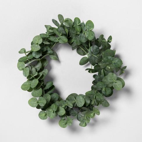 """7.5"""" Mini Faux Eucalyptus Wreath - Hearth & Hand™ with Magnolia - image 1 of 2"""
