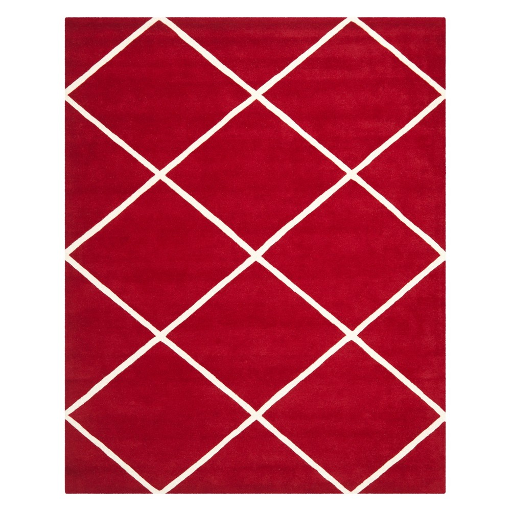 8'X10' Geometric Tufted Area Rug Red/Ivory - Safavieh