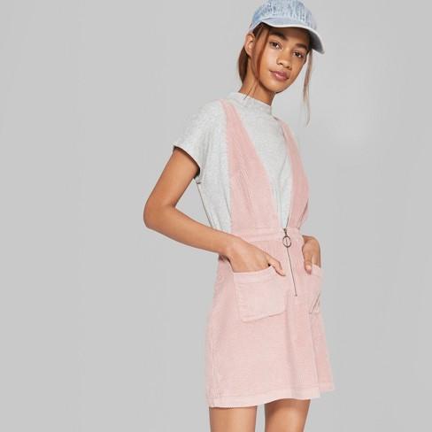 Women S Sleeveless V Neck Zip Front Corduroy Mini Dress Wild Fable