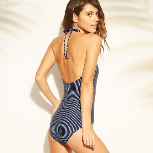 51b7c03c37 Women's Faux Wrap One Piece Swimsuit - Sea Angel Navy Floral : Target