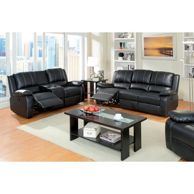 IoHomes Marty Double Stitched Leatherette Reclining Sofa In Black : Target