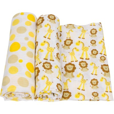 MiracleWare Muslin Swaddle - Giraffe and Lions 2pk