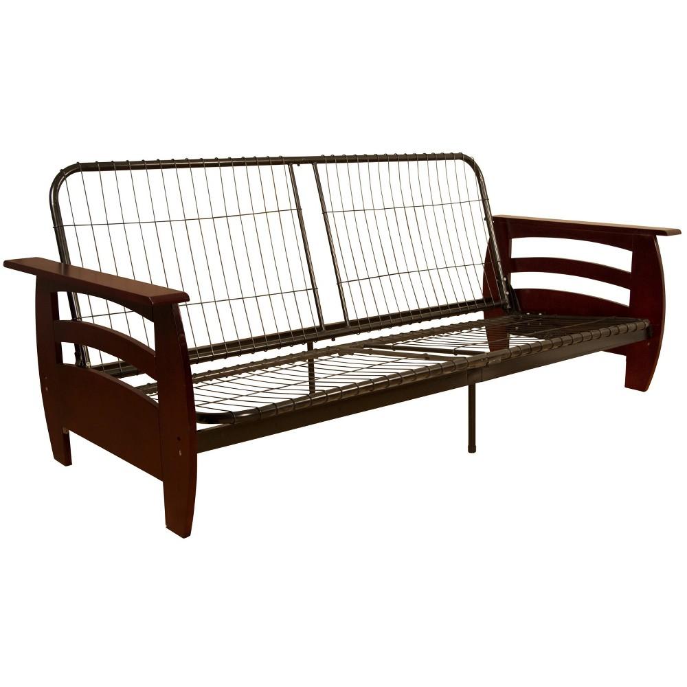 Savannah Futon Sofa Sleeper Bed Frame - Epic Furnishings, Brandywine Finish Wood Arm