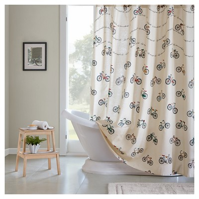 Bicycle Shower Curtain Blue/Cream