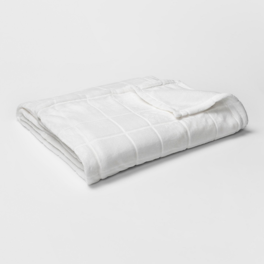 Micromink Plush Blanket (Full/Queen) White - Room Essentials