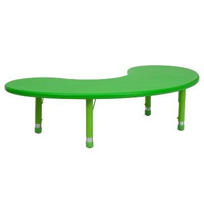 "Flash Furniture 35""W x 65""L Half-Moon Plastic Height Adjustable Activity Table"