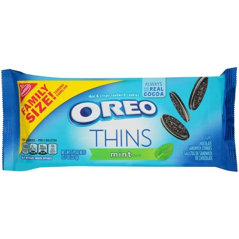 Oreo Thins Mint Crème Chocolate Sandwich Cookies - 13.1oz - image 1 of 4