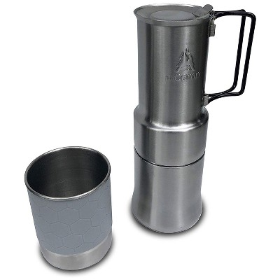 nCamp Portable Stainless Steel Outdoor Camping Espresso Style Café Brewer Coffee Maker for Hiking and Backpacking