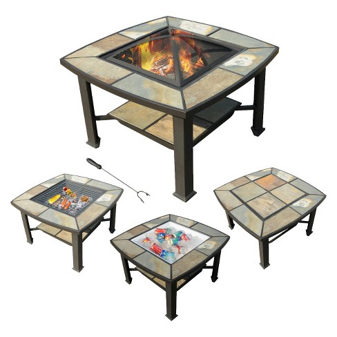 24 Rimini 4 In 1 Coffee Table Cooler Fire Pit Grill Slate