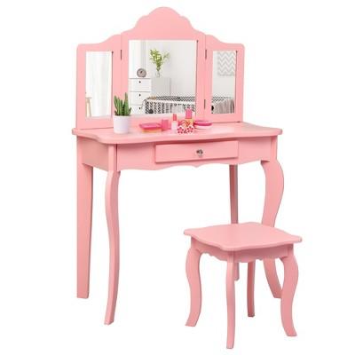 Costway Kids Vanity Table & Stool Princess Dressing Make Up Play Set for Girls Pink