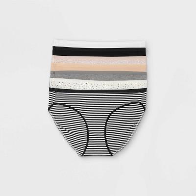 Women's 6+1 Bonus Pack Striped Cotton Bikini Underwear - Auden™ Neutral