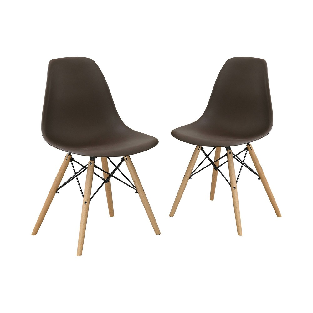 Set of 2 Hackney Contemporary Accent Chair Brown - Homes: Inside + Out