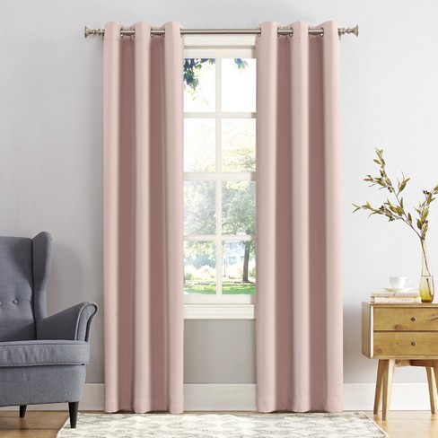 "Kenneth Blackout Energy Efficient Grommet Curtain Panel Blush 40""x95"" - Sun Zero - image 1 of 3"
