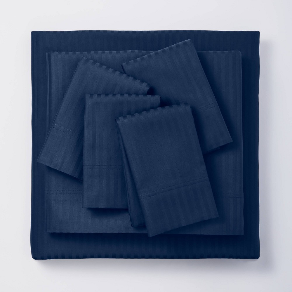 Twin/Twin XL 4pc 400 Thread Count Damask Solid Sheet Set Indigo - Threshold Signature Coupons