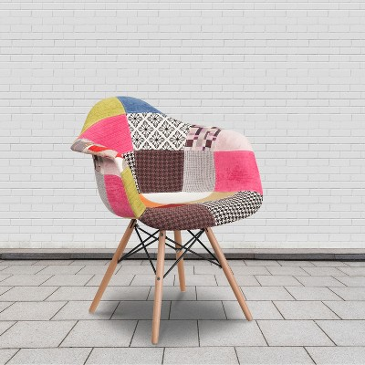 Flash Furniture Alonza Series Milan Patchwork Fabric Chair with Wooden Legs