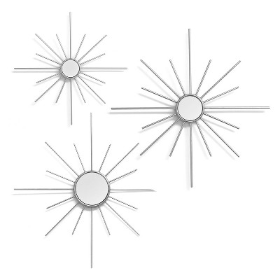 Stratton Home Decor Hand Made Metal Silver Mirror Sun Burst Wall Decor Set of 3 Decorative Wall Mirrors in Varying Sizes with Metal Frames