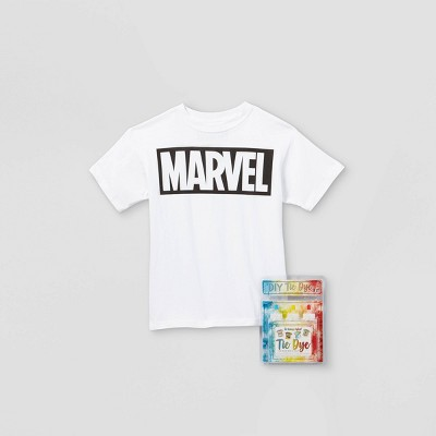 Kids' Marvel Short Sleeve Graphic T-Shirt with Tie-Dye Kit - White